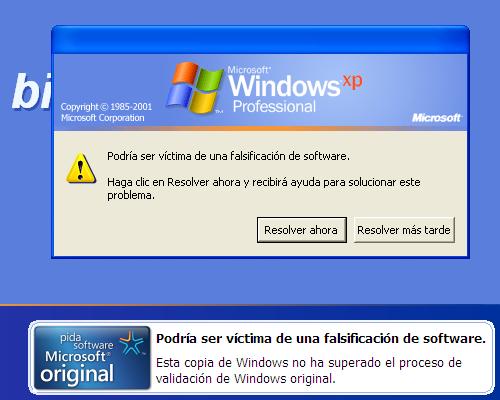 Kendu piraten kontrako oharra Windows XPtik 18