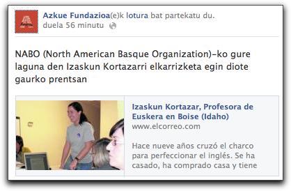 Azkue Fundazioaren mezua FBn: El Correon Idahon dabilen Izaskun Kortazar elkarrizketatu dutela