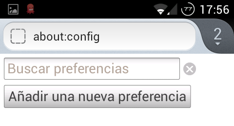 Firefox Mobile. About: Config