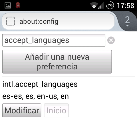 Firefox Mobile: Accept Languages