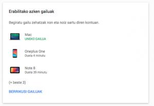 google kontua: gailuen kontrola