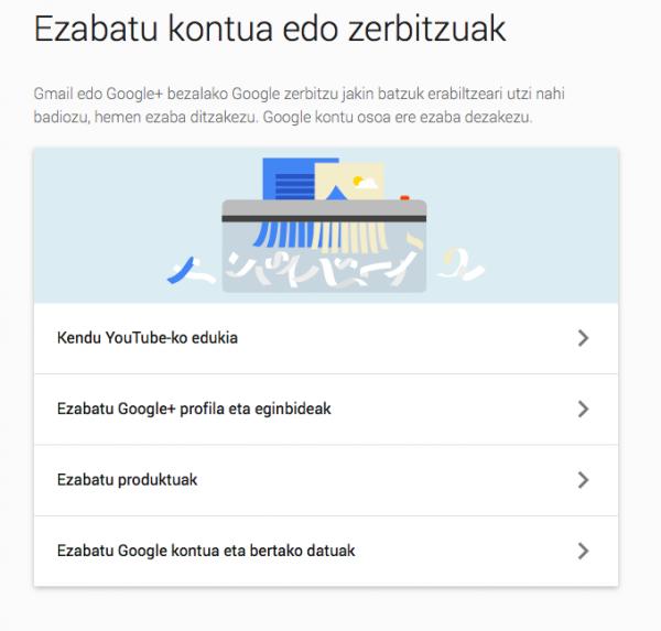 google kontua ezabatzeko aukerak
