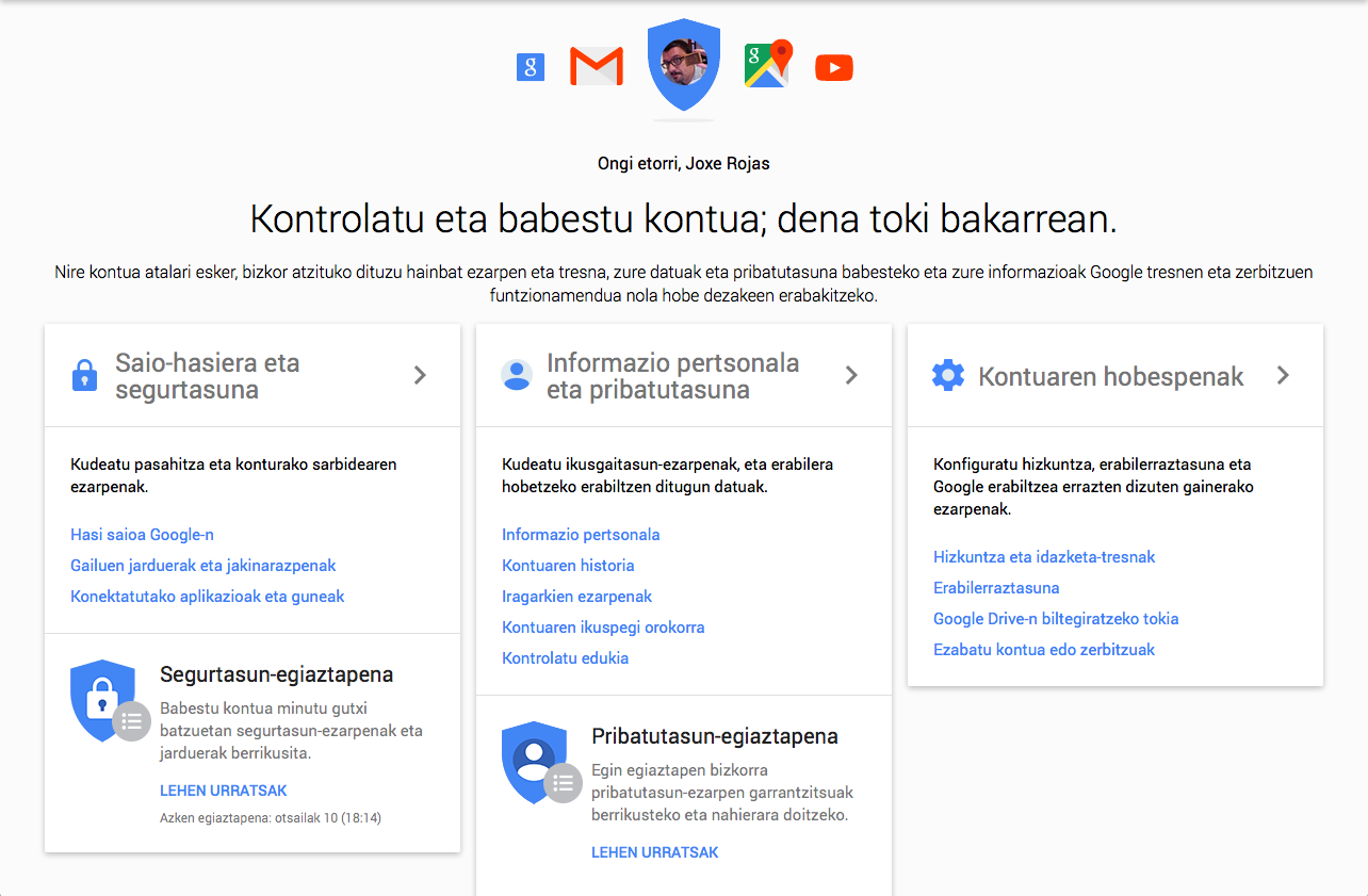 Google Nire KOntua - Kontrol panela
