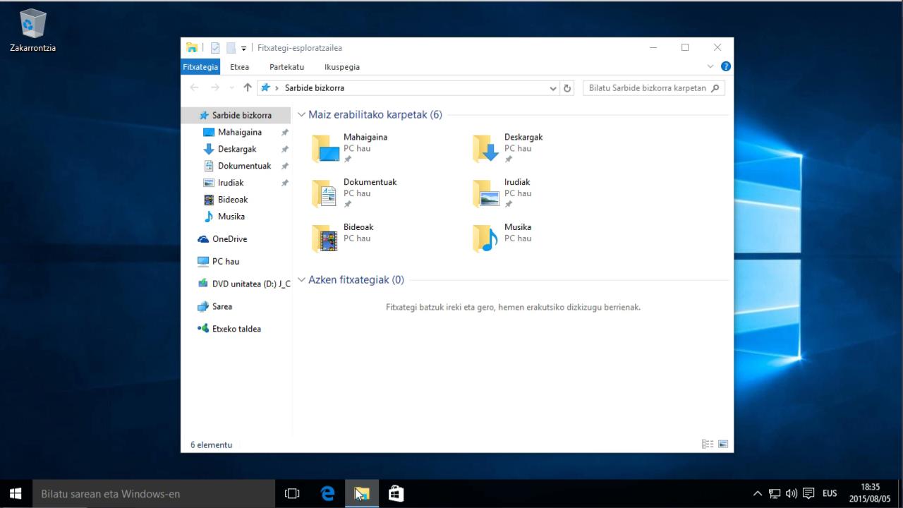 Nola euskaratu Windows 10, hamar pausu errazetan 1