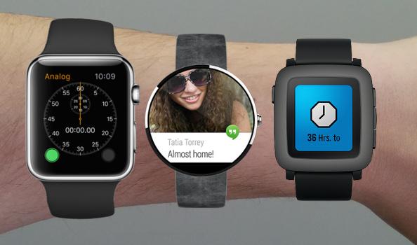Apple, Android eta Pebble 'listordulariak', hurrenez hurren (irudia:zoo.com)