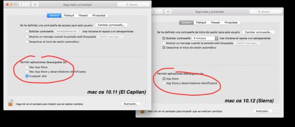 Segurtasun panela, MacOS X 10.11n eta macOS 10.12n. Gero eta aukera gutxiago!!!