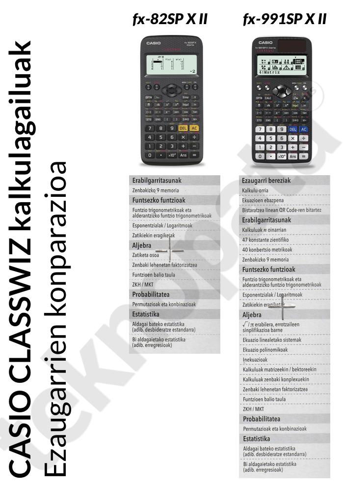 classwiz kalkulagailuen konparazioa
