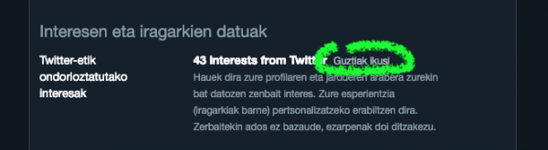 Twitter: ondorioztatutako interesak ikusi