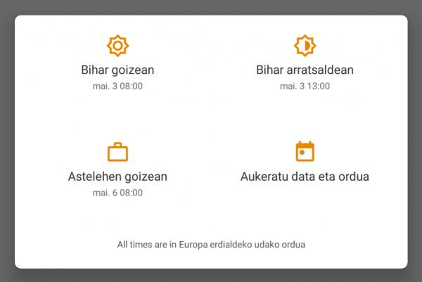 Gmail app - mezuak programatzeko aukerak