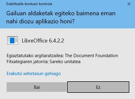 Windows - Instalatzaileak aldaketak egiteko baimena
