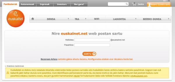 Euskaltel webmail zerbitzua